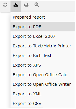 Report export options
