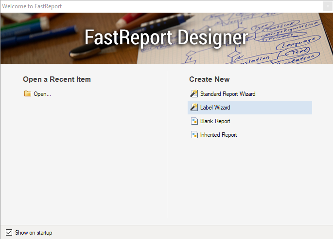 The report designer welcome form