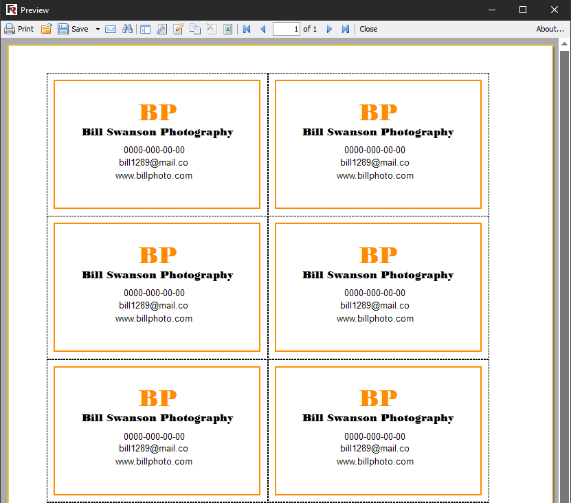 Report with business cards