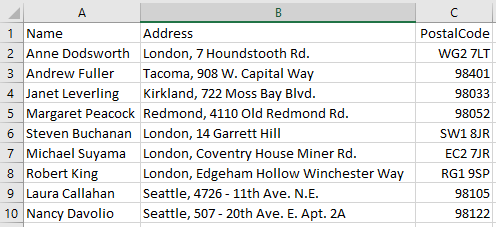 name and address list
