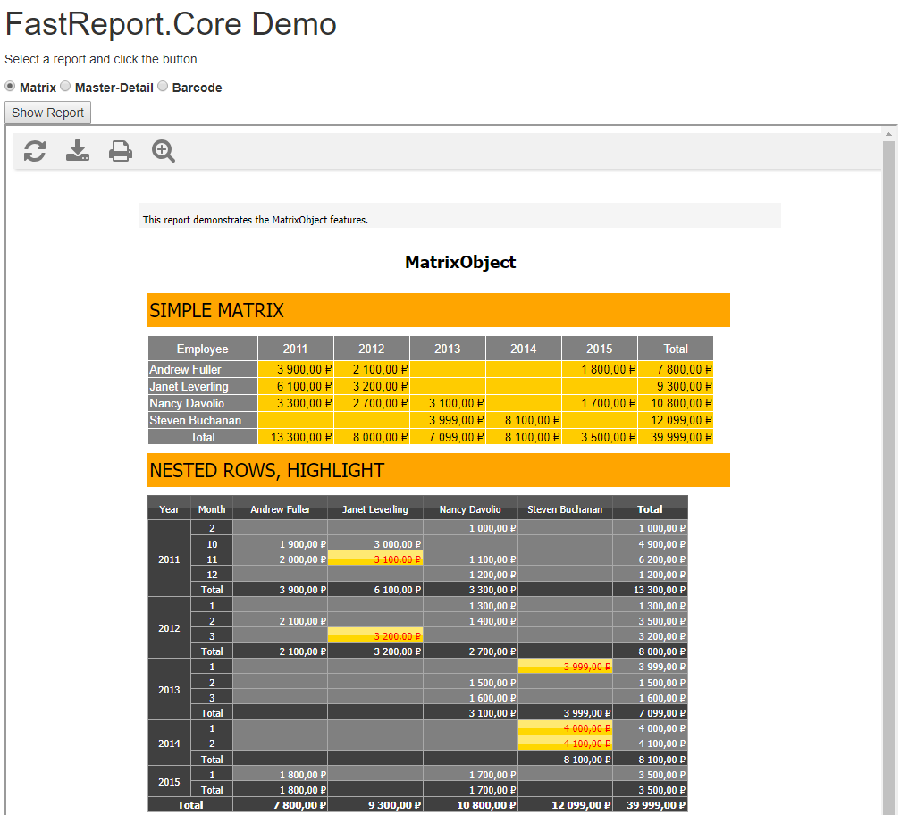 How to use FR Core Web Report in Single Page Application