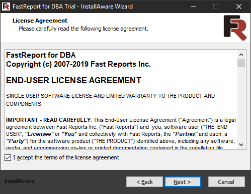 FastReport for DBA installation. Second step.