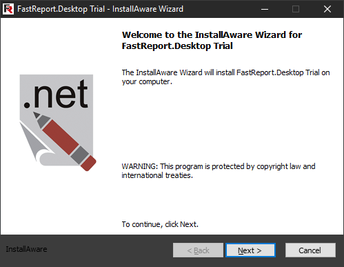 FastReport Desktop Install wizard. First step