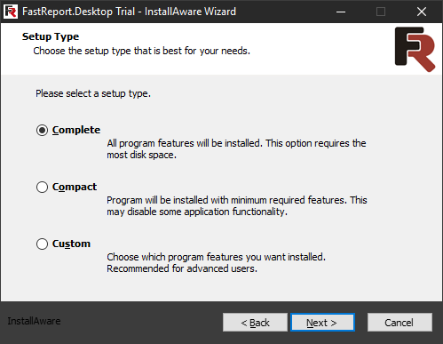 FastReport Desktop Install wizard. Third step