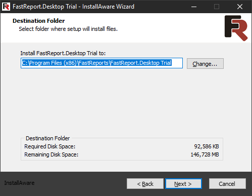 FastReport Desktop Install wizard. Fifth step