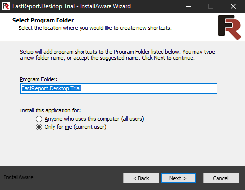 FastReport Desktop Install wizard. Sixth step