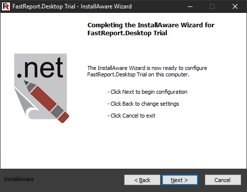 FastReport Desktop Install wizard. Seventh step