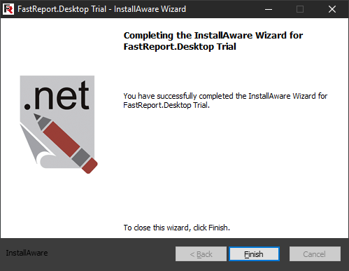 FastReport Desktop Install wizard. Ninth step