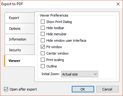 Configure options of viewer Acrobat PDF files when exporting