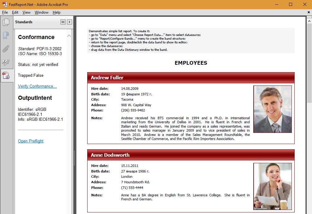 Saving a report in PDF/X format - Fast Reports Inc