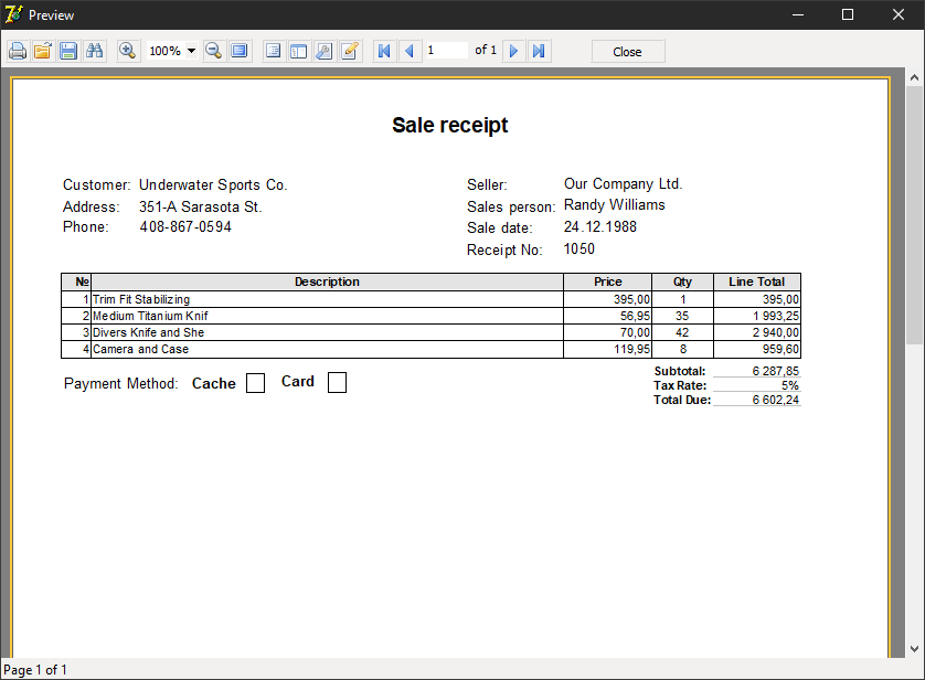 The report with sales receipt