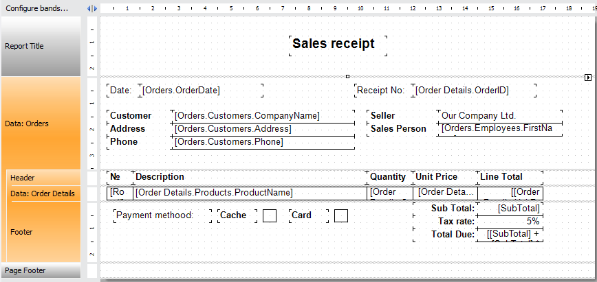 Sales receipt report template