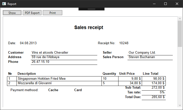 Sales receipt in the WPF application