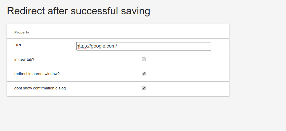 save success redirect