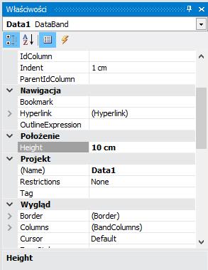 DataBand height