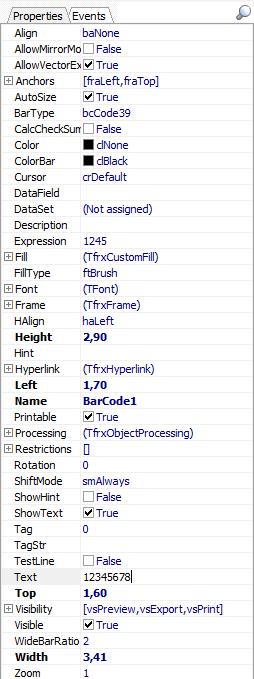 可视化报告生成器FastReport VCL功能指南:如何使用Delphi / Lazarus创建CODE 39和CODE 39扩展条形码