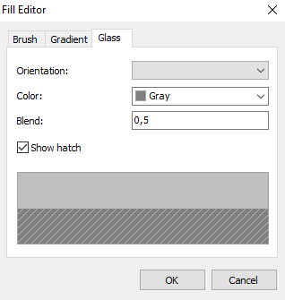 Fill Editor in the form of glass