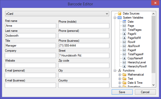 Report Barcode Editor